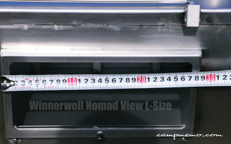 Winnerwell Nomad View L-Sizeのサイドの窓枠寸法