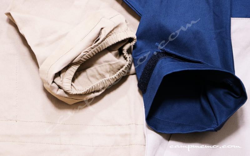 綿アノラックパーカーと綿かぶりヤッケの袖口