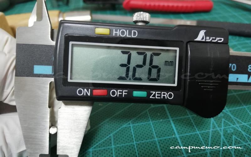 オピネルNo.10のピン(先端)ノギスで計測