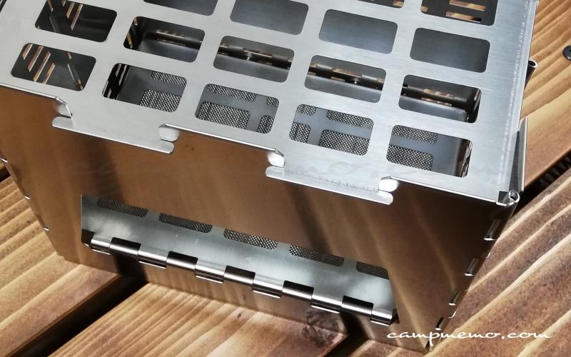コンパクト焚火台 ORU本体上部に網をセット