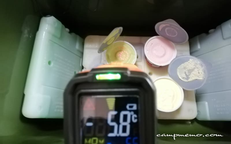 24時間後のアイスクリーム表面温度