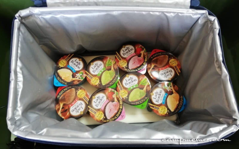 コールマンのデイリークーラーに入れたGT-16℃ハード900gとアイスクリーム