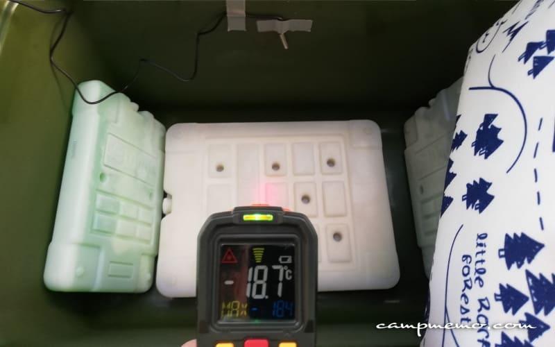 インペリアルクーラーボックス内の氷点下パックGT-16℃の表面温度-18.7℃