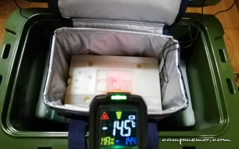 デイリークーラー内上部の氷点下パック表面温度-14.5℃