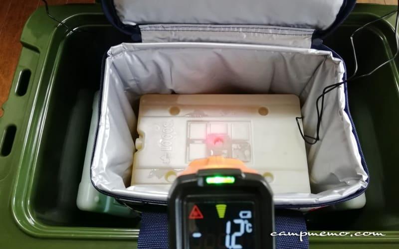 デイリークーラー内上部の氷点下パック表面温度-1.2℃