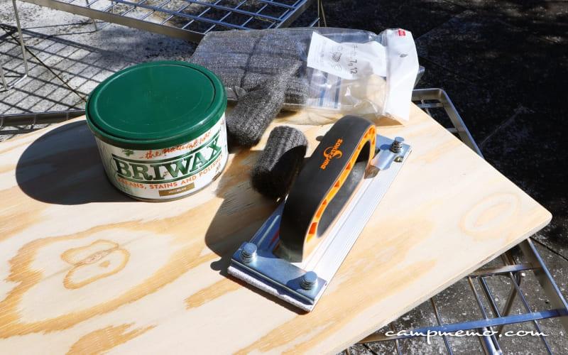 フィールドラックの自作天板に使った道具とワックス