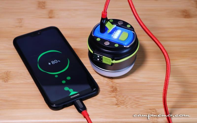 充電式LEDランタンからスマホへ充電