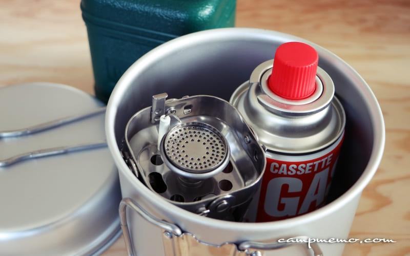 トレック1400にカセットジュニアCB缶とジュニアコンパクトバーナーをスタッキング
