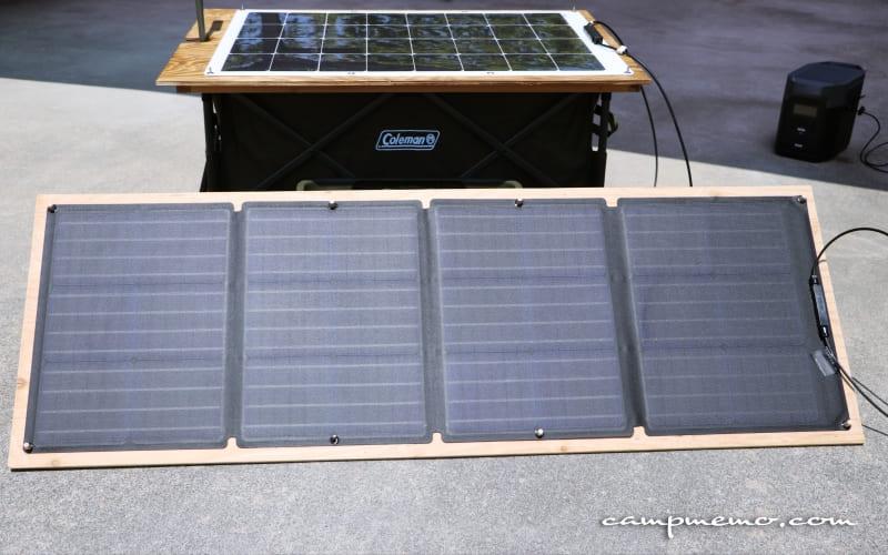 EcoFlowの110Wソーラーチャージャーと、suaokiの100Wソーラーパネル
