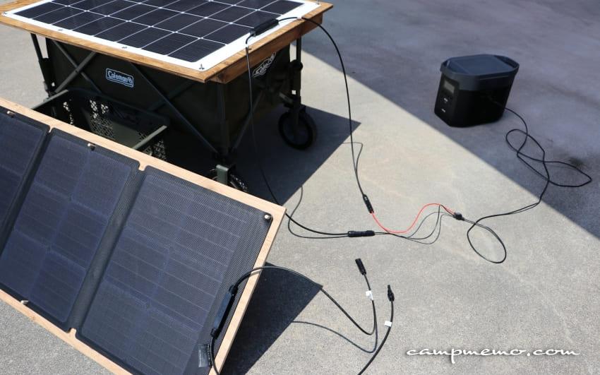 suaokiの100WソーラーパネルからEFDELTAへ充電