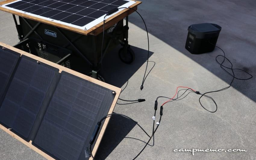 EcoFlowの110WソーラーチャージャーからEFDELTAへ充電
