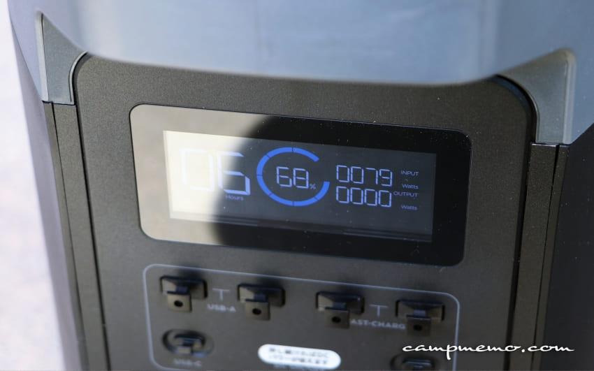 EcoFlowの110Wソーラーチャージャー出力